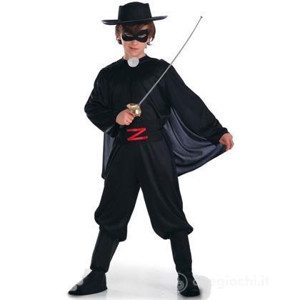 Costume , Tuta e mantello in tessuto elasticizzato, maschera, capello e copristivali