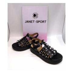 Sandalo nero con borchie Janet Sport